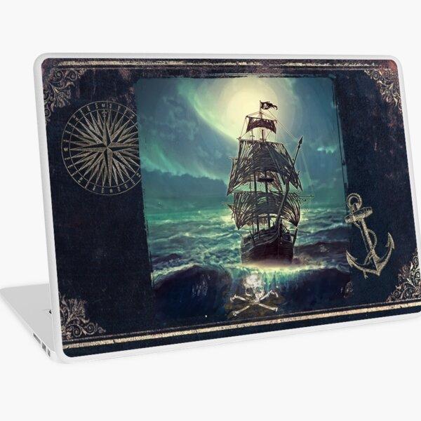 Ghost Pirate Ship at Night Laptop Skin