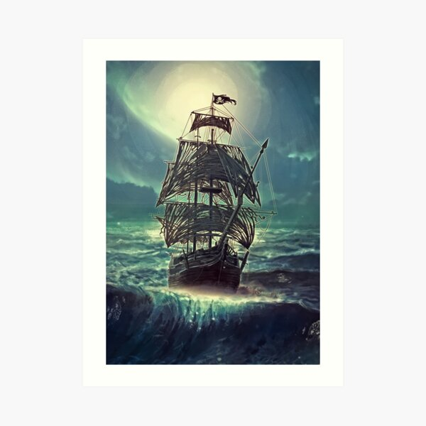 Ghost Pirate Ship at Night Art Print