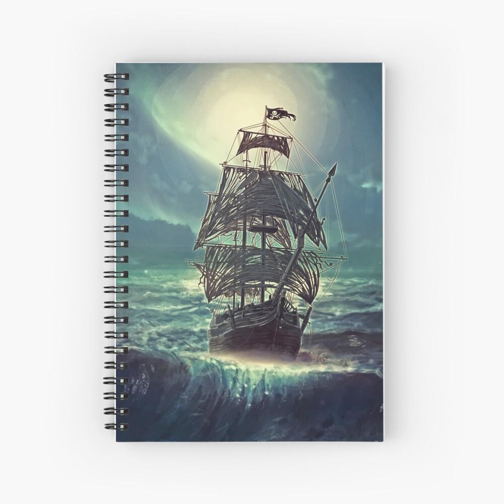 Ghost Pirate Ship at Night Cuaderno de espiral