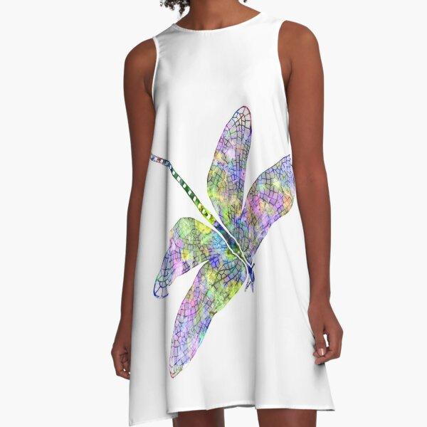 Ihre Flügel glitzern schillernd in der Sonne. Schließen Sie Ihre Augen und hören Sie, wie ihre Flügel im Wind flattern.  Ich träume von Libellen, die mit dem Wind auf ihren Flügeln durch die Luft schweben.  Dies ist dem Sommer gewidmet.  Photoshop  A-Linien Kleid