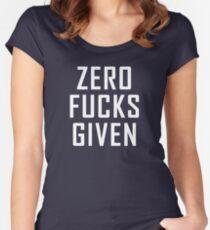 ZERO FUCKS GIVEN (on dark) Women's Fitted Scoop T-Shirt