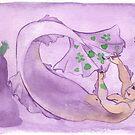 MerMay Underwater Purple Painter Merman Watercolor by SimplyKitt