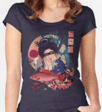 Collage Geisha Samurai in Coral, Indigo and Marsala Women's Fitted Scoop T-Shirt