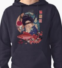 Collage Geisha Samurai in Coral, Indigo and Marsala Pullover Hoodie
