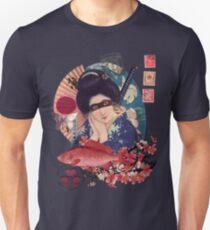 Collage Geisha Samurai in Coral, Indigo and Marsala Unisex T-Shirt