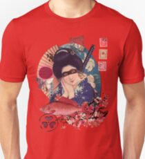 Collage Geisha Samurai in Coral, Indigo and Marsala T-Shirt
