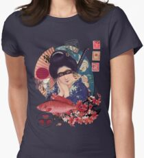 Collage Geisha Samurai in Coral, Indigo and Marsala Womens Fitted T-Shirt