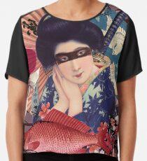 Collage Geisha Samurai in Coral, Indigo and Marsala Chiffon Top
