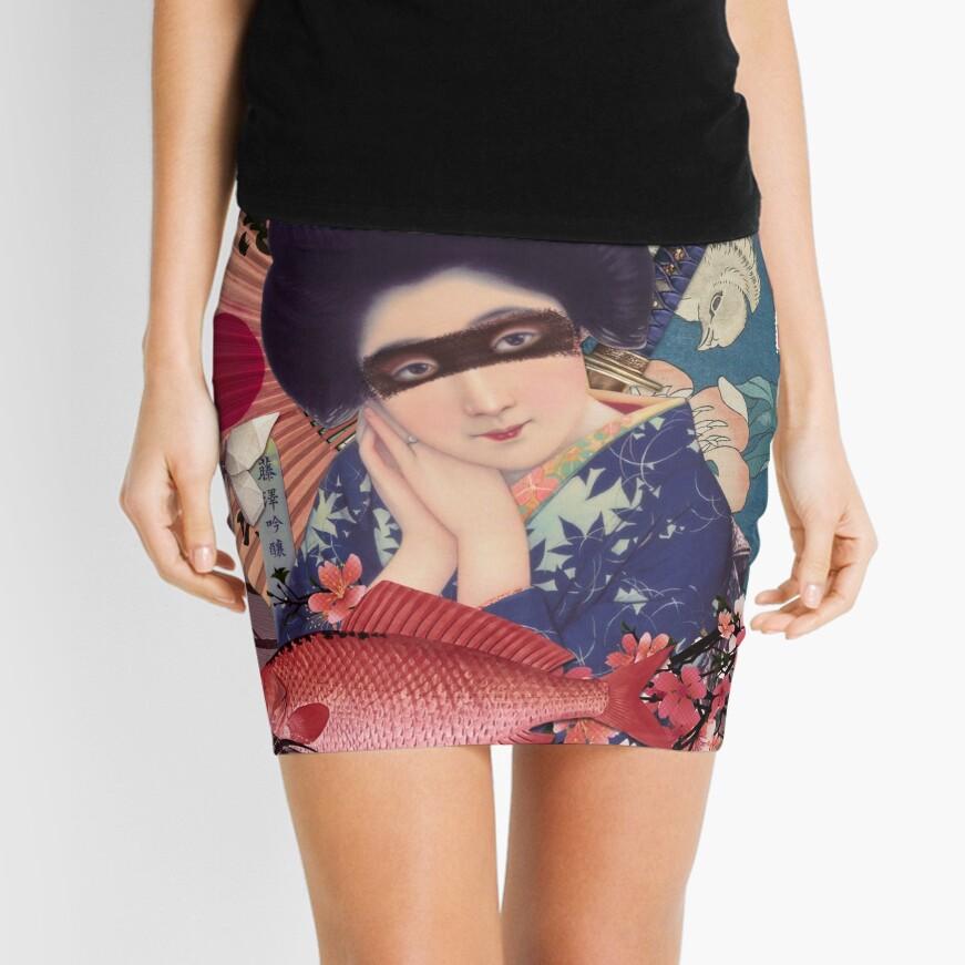 Collage Geisha Samurai in Coral, Indigo and Marsala Mini Skirt