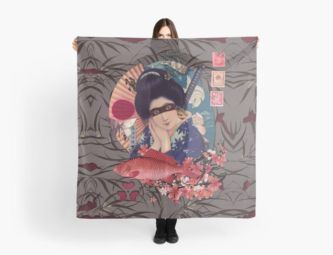 Collage Geisha Samurai in Coral, Indigo and Marsala by Eva Nev