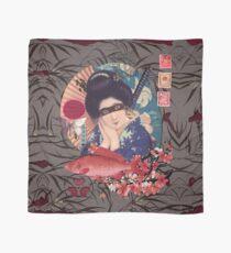Collage Geisha Samurai in Coral, Indigo and Marsala Scarf