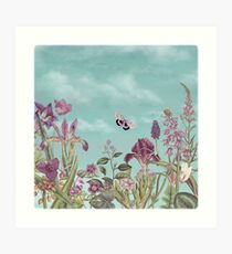 Mauve flowers on turquoise sky background Art Print