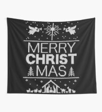 Ugly Christmas Sweater - Black Knit - Merry Christ Mas - Religious Christian - Jesus Wall Tapestry