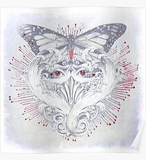 Tears Butterfly. Heartbreak Poem. Poster