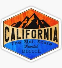 CALIFORNIA THE 31 ST. STATE MOUNTAINS OCEAN DESERT SKIING HIKING CLIMBING CAMPING Sticker