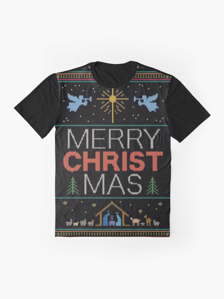 Alternate view of Ugly Christmas Sweater - Knit by Granny - Merry Christ Mas - Religious Christian Colorful Graphic T-Shirt