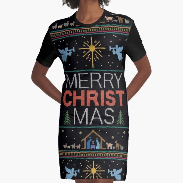 Ugly Christmas Sweater - Knit by Granny - Merry Christ Mas - Religious Christian Colorful Graphic T-Shirt Dress