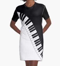 Piano Keyboard Graphic T-Shirt Dress