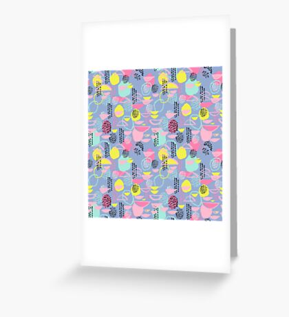 Abstract pattern nursery minimal pattern pink mint pastels and white abstract pattern design by CharlotteWinter Greeting Card