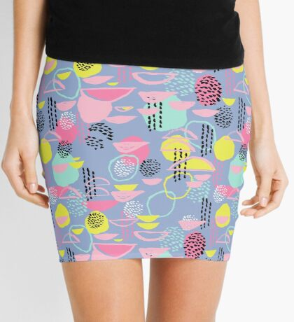 Abstract pattern nursery minimal pattern pink mint pastels and white abstract pattern design by CharlotteWinter Mini Skirt