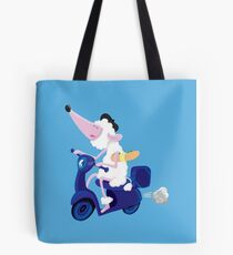 Le French poodle (de Moped Traveller with yummy Baguette) Tote Bag