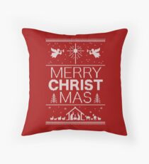 Ugly Christmas Sweater - Red - Merry Christ Mas - Religious Christian - Jesus Throw Pillow