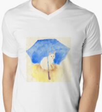 White cat under a blue umbrella Men's V-Neck T-Shirt