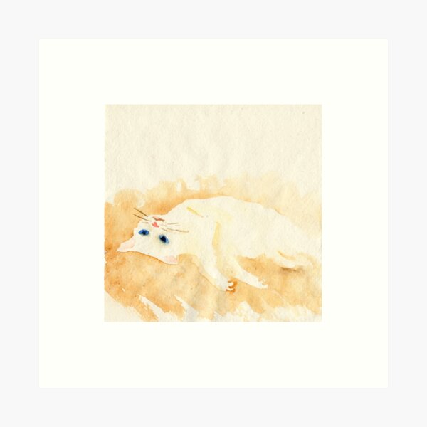 White cat lying on the floor Art Print