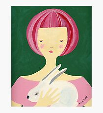 Girl with bunny Photographic Print