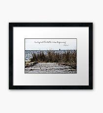 A New Beginning - Beach Boardwalk with Lighthouse Framed Print