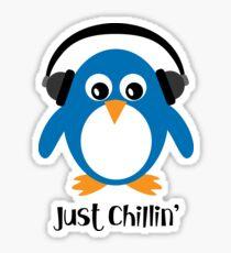 Penguin Just Chillin' with Headphones Sticker