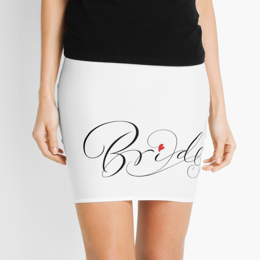 Bride Lettering - Fancy Wedding Calligraphy Script with Red Heart Mini Skirt