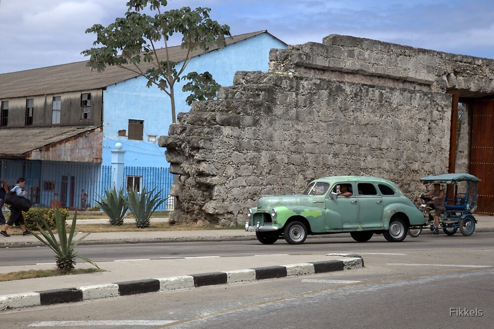 Classic car and Old Havana city wall by Fikkels