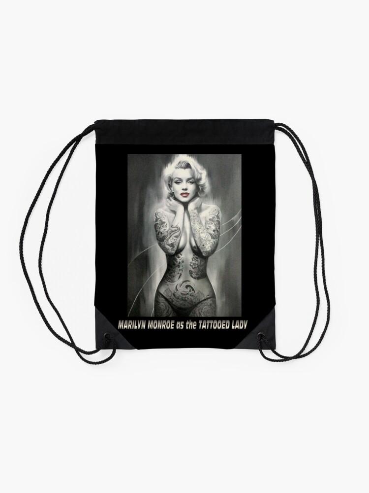 Alternate view of MARILYN MONROE: as The TATTOOED LADY Print Drawstring Bag