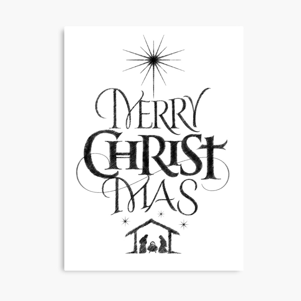 Religious christian calligraphy merry christmas christ mas sketched jesus nativity canvas print by 26 characters redbubble