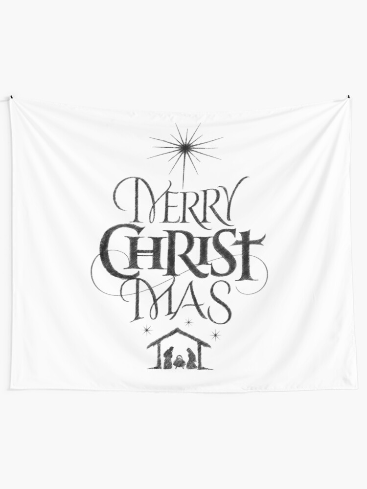 Merry Christmas Christian.Religious Christian Calligraphy Merry Christmas Christ Mas Sketched Jesus Nativity Wall Tapestry