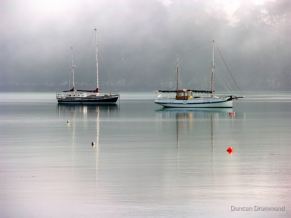 Ketches in the mist by Duncan Drummond