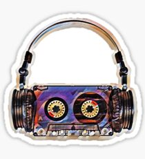 Cassette Tape and Headphones Throwback  Sticker