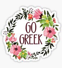 Go Greek floral wreath sorority Sticker