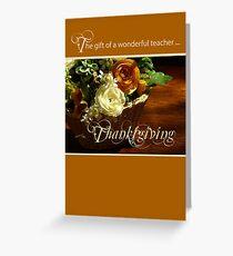 Teacher Thanksgiving Flower Basket Greeting Card