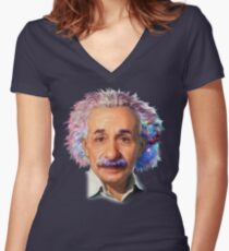 Albert Einstein - Galaxy Women's Fitted V-Neck T-Shirt