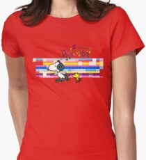 Snoopy , Woodstock, Peanuts , Retro Skate Women's Fitted T-Shirt