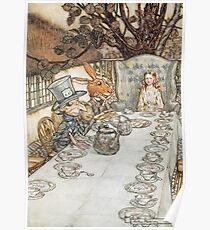 The Mad Hatters Tea Party by Arthur Rackham Poster