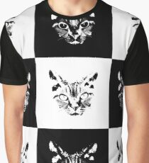 Black and white cat drawing Graphic T-Shirt