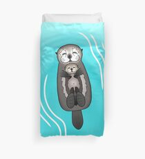 Mother and Pup Sea Otters - Mom Holding Baby Otter Duvet Cover