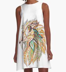 Tribal Lion Head A-Line Dress