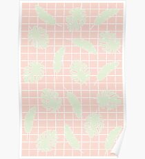Graphic Tropical Leaves on Grid Pink and Mint Green Poster
