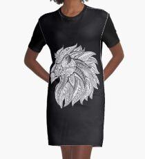 Tribal Lion Head Black and White Graphic T-Shirt Dress