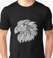 Tribal Lion Head Black and White Slim Fit T-Shirt