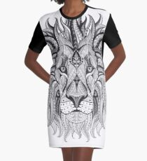 Tribal Lion Black and White Graphic T-Shirt Dress